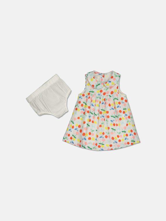 Baby Girls Printed Cotton Shift Dress Bright White