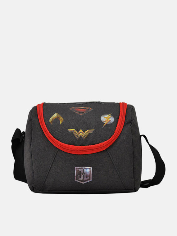 Justice League Lunch Bag 23 H x 21 L x 13 W cm Black Combo