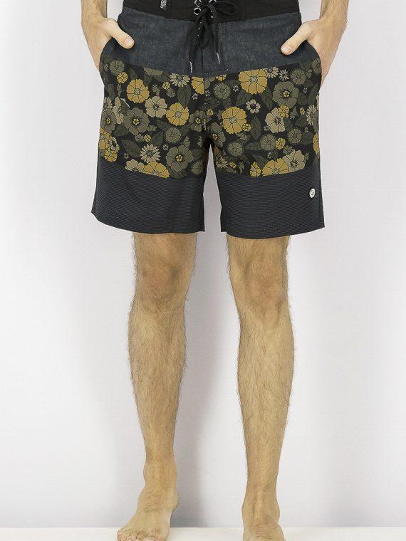 Mens 19 Drawstring Floral Board Shorts Black Combo