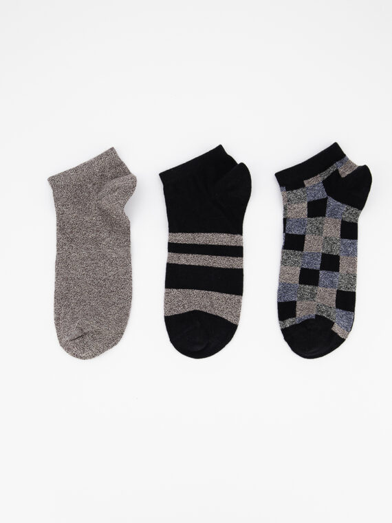 Mens 3 Pairs Ankle Socks Black/Heather Maroon/Blue