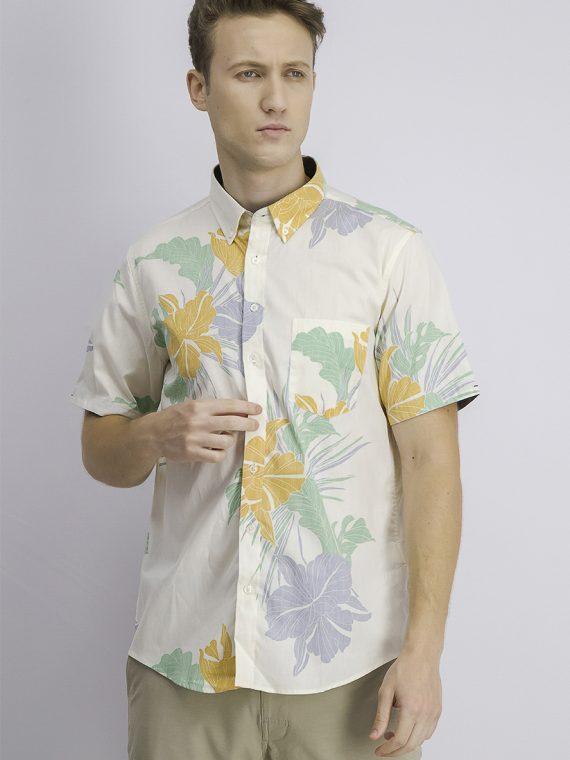 Mens Button Down Chest Pocket Floral Shirt Beige Combo