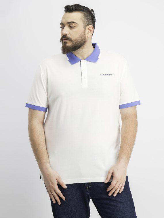 Mens Cotton Pique Polo White/Blue