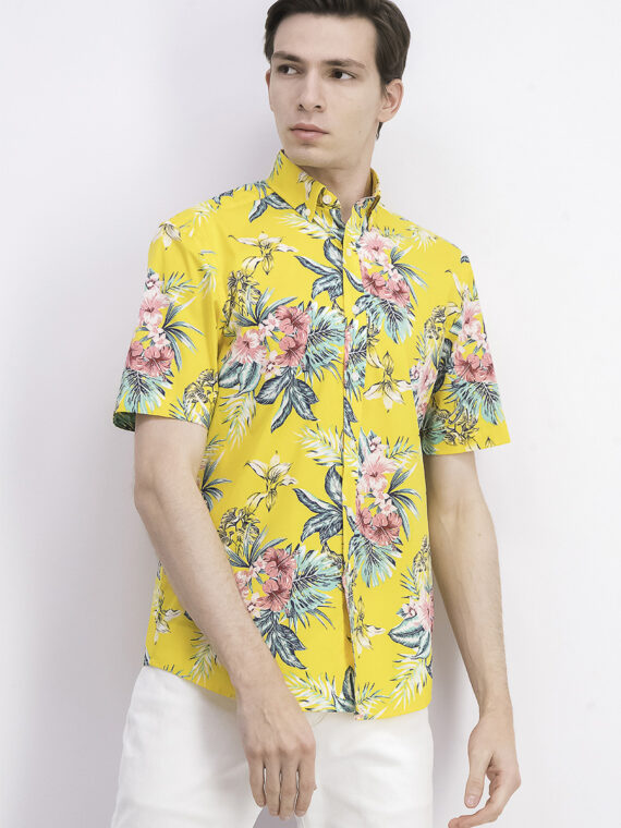 Mens Floral Print Short Sleeve Shirt Yellow Combo