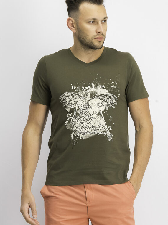 Mens Graphic Print V-neck Tee Olive Night
