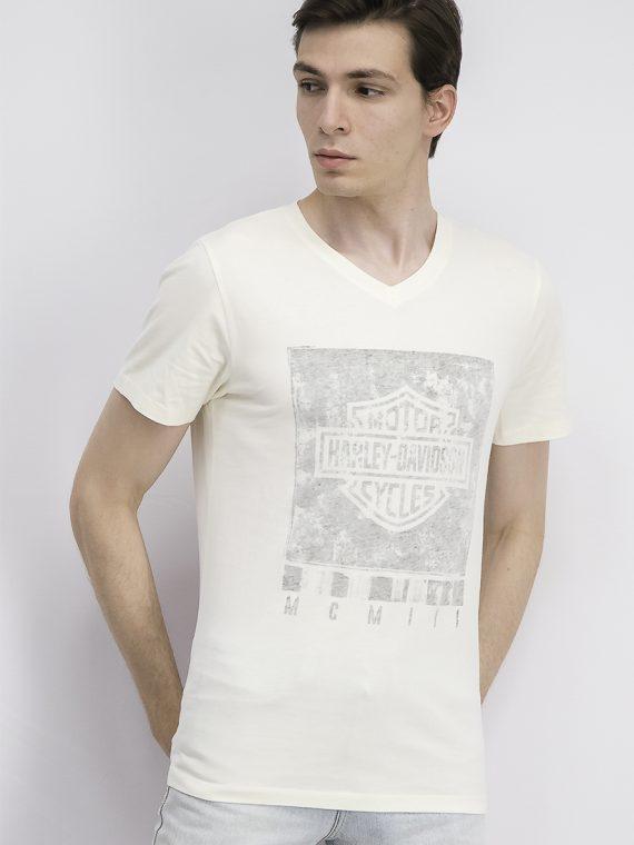Mens Graphic V-neck T-shirt Tofu