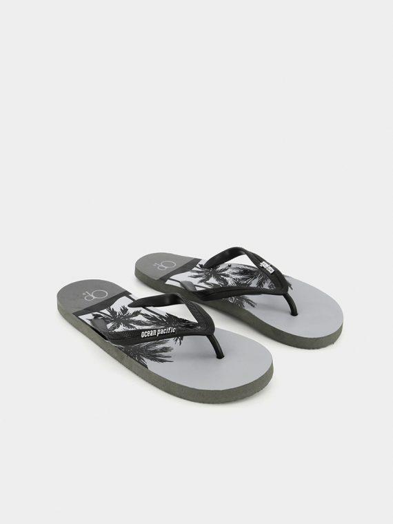 Mens Printed Slip On Slippers Grey