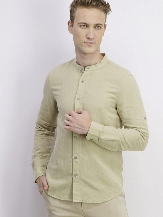 Mens Roll Tab Casual Shirt Olive