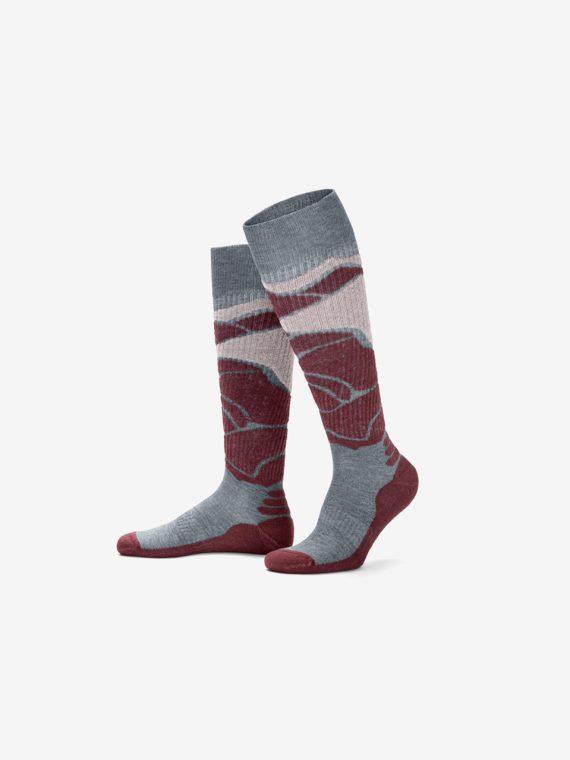 Mens Ski Socks Bordeaux Red/Gray