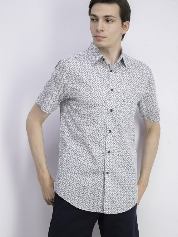 Mens Stretch Tile-Print Shirt White Combo