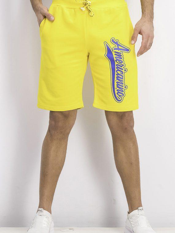 Mens Sweat Graphic Short Yellow
