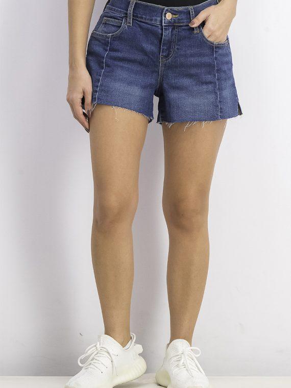 Womens 3 Front Seam Boyfriend Shorts Denim Blue