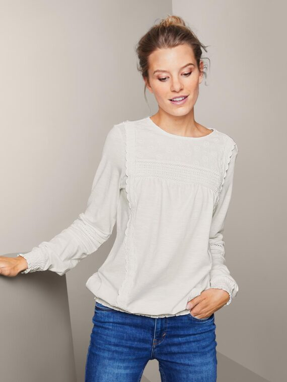Womens Blouse Shirt With Embroidery White