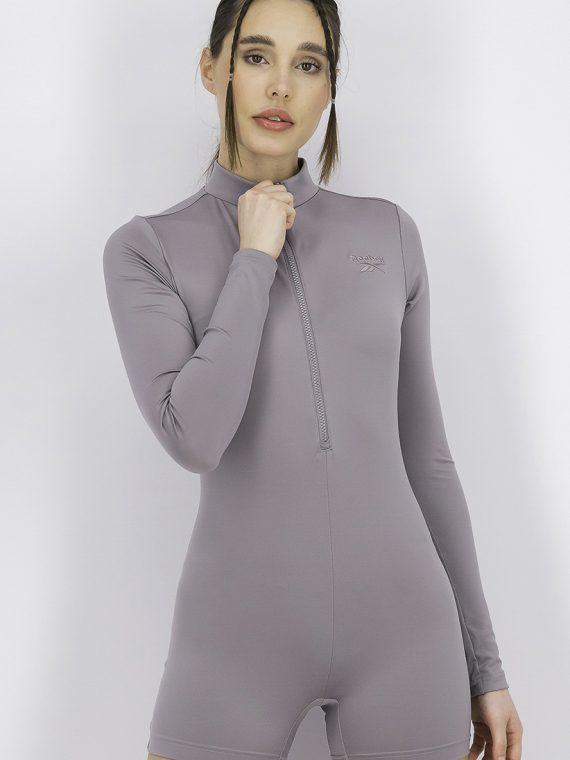 Womens Interlocked Leotard Grey
