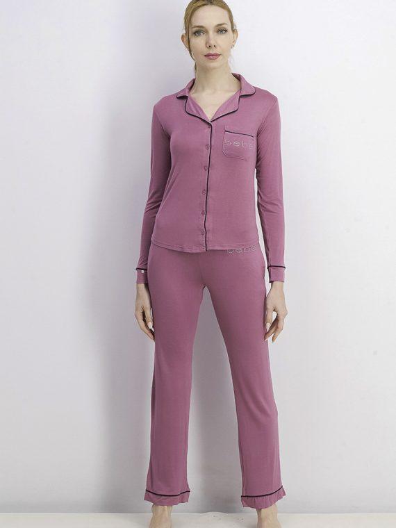 Womens Long Sleeve Sleepwear Set Mauve/Pink