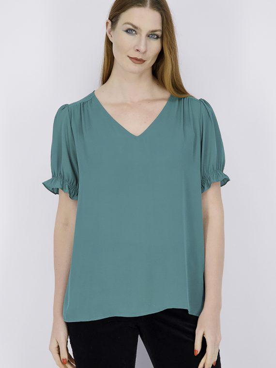 Womens Megan Ruffle Sleeve Blouse Green