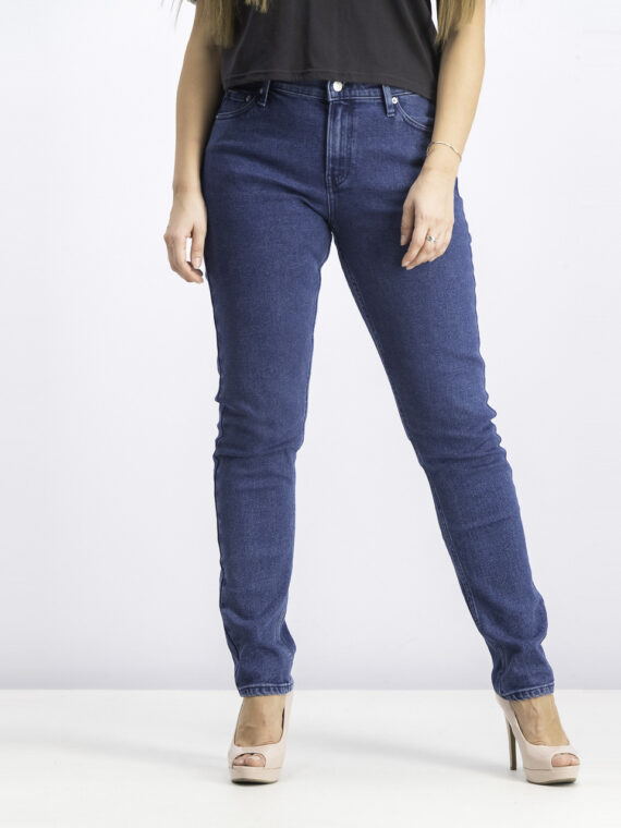 Womens Mid Rise Slim Fit Jeans Blue