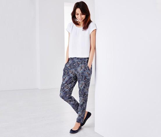 Womens Paisley Print Pants Blue