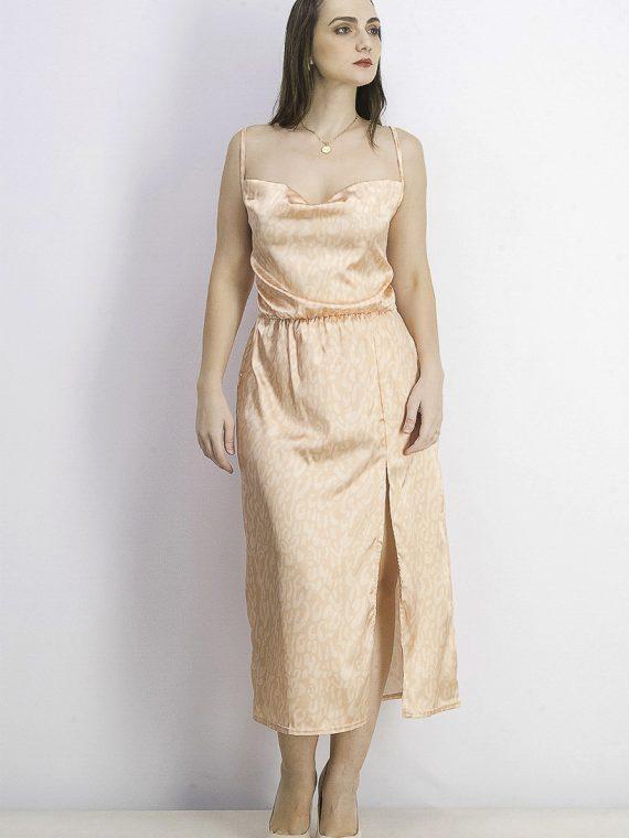 Womens Satin Dress Orange Combo