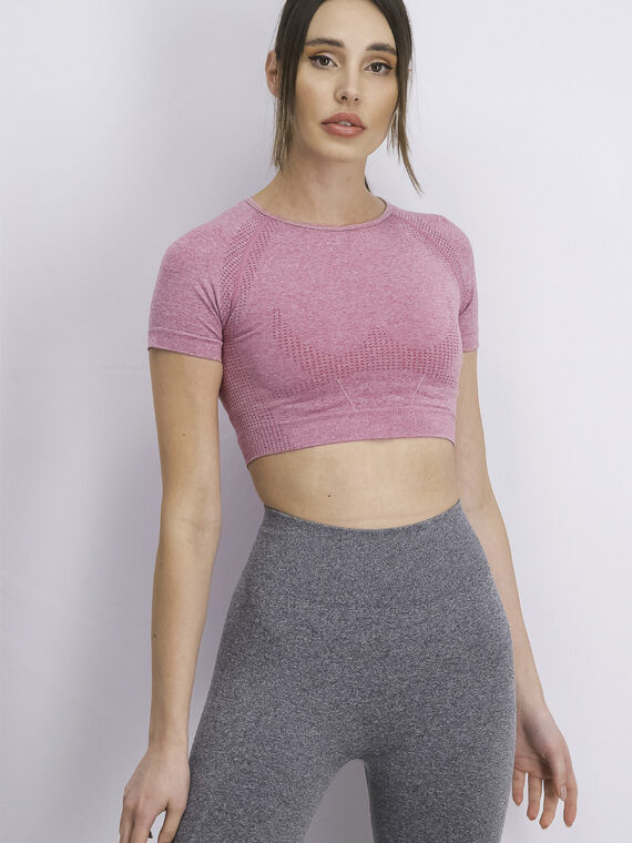 Womens Short Sleeve Cropped Sportswear Top Mauve