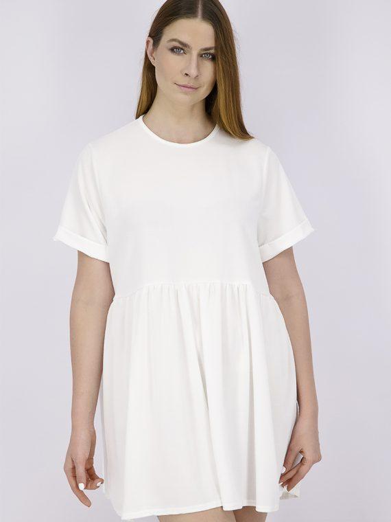 Womens Short Sleeve Plain Fit & Flare Dress White