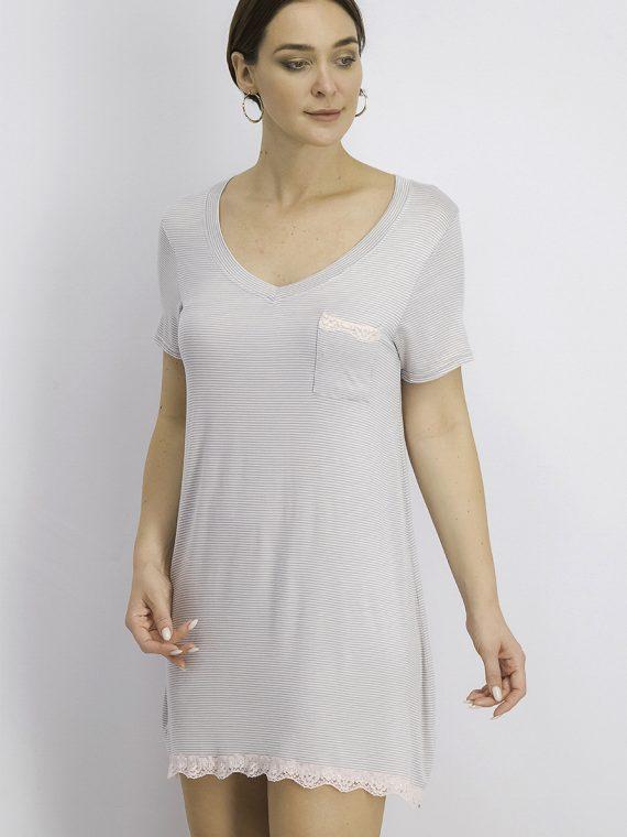 Womens Short Sleeve Stripe With Pocket Sleep Dress Grey