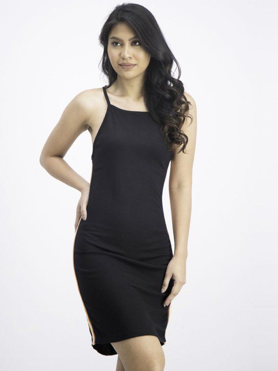 Womens Side Stripes Midi Dress Black