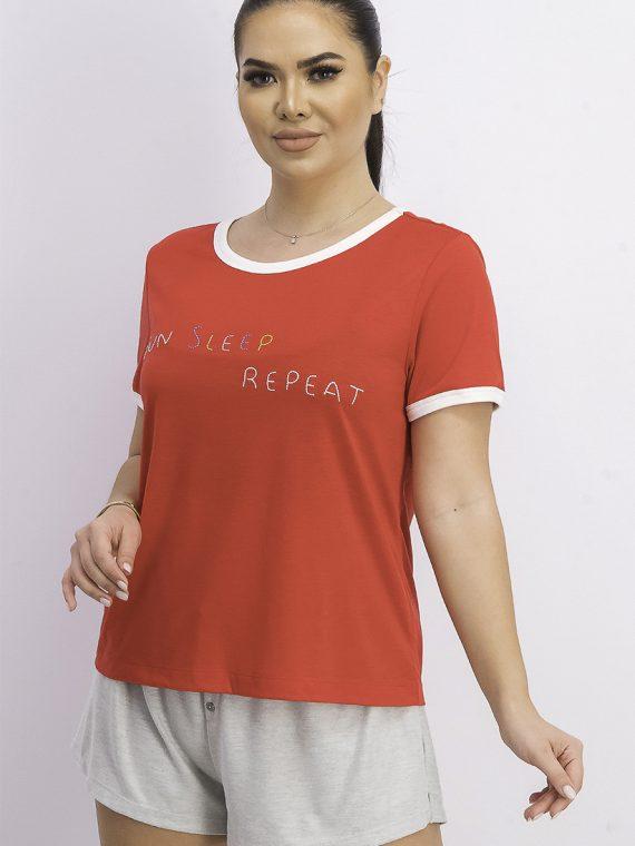 Womens Sun Sleep Repeat Comfy Sleep Shirt Red